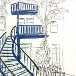 Un escalier extérieur typique dans le » Mile End « à Montréal