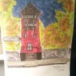 Maison rouge sur la colline de Gatineau près d'Ottawa